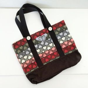 Roxy Multicolored Heart Print Tote Bag